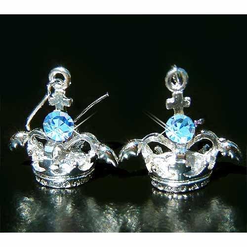 3D Crown Angel Wings Cross Swarovski Blue Crystal Earrings