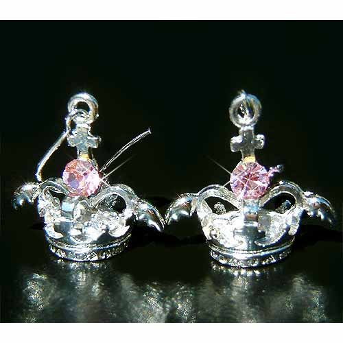 3D Crown Angel Wings Cross Swarovski Pink Crystal Earrings