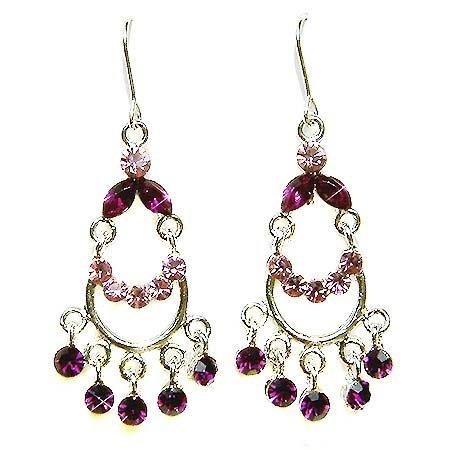 Swarovski Purple Crystal Bridal Chandelier Earrings