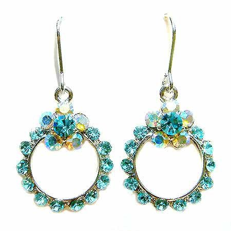 Swarovski Crystal Something Blue Flower Wreath Bridal Earrings