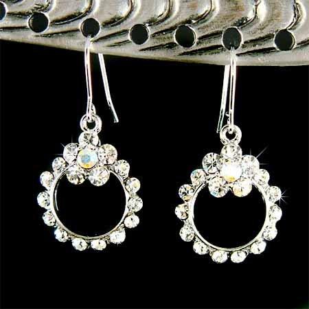 Swarovski Clear Crystal Bridal Wedding Flower Wreath Earrings