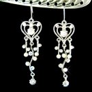 Swarovski Clear Crystal Super Long Heart Vine Bridal Earrings