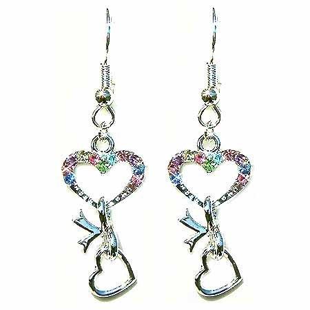 Pastel Swarovski Crystal Double Heart to Heart Ribbon Earrings