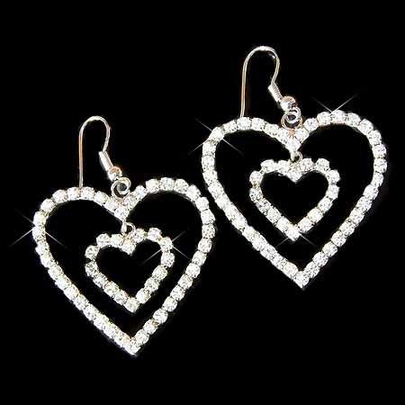 Modern Bride Swarovski Clear Crystal Double Heart Earrings
