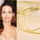 """2 3/4"""" (70mm) Huge Celebrity Gold-Plated Hoop Earrings"""