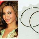 "2 3/4"" (70mm) Huge Celebrity White Gold-Plated Hoop Earrings"