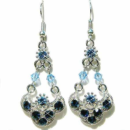 Fall Swarovski Montana Blue Bridal Wedding Dangle Earrings