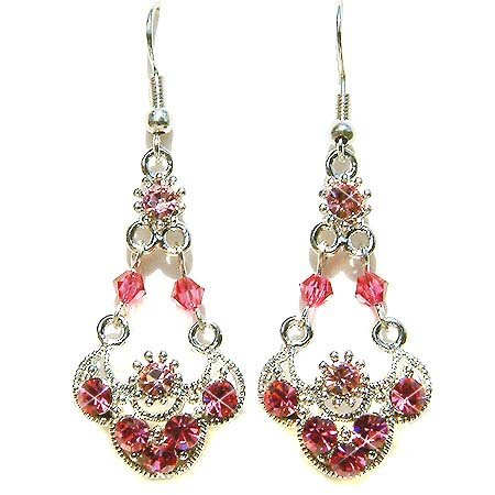 Glamour Long Pink Swarovski Crystal Night Out Earrings