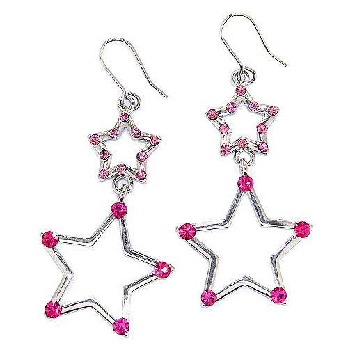 Sparkling Star Swarovski Pink Crystal Bling Earrings