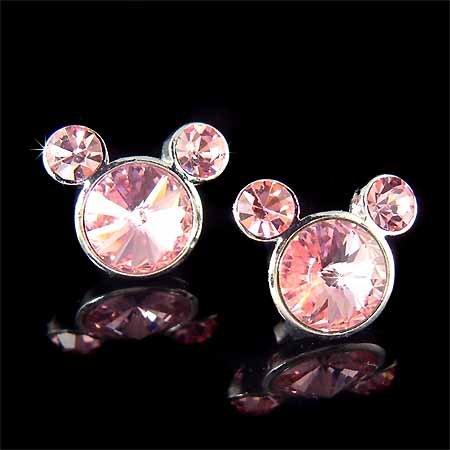 Micky Mouse Swarovski Pink Rivoli Crystal Earrings