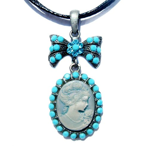 Turquoise Victorian Cameo Swarovski Crystal Leather Necklace