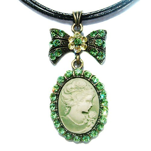 Antique Cameo Swarovski Christmas Green Crystal Leather Necklace