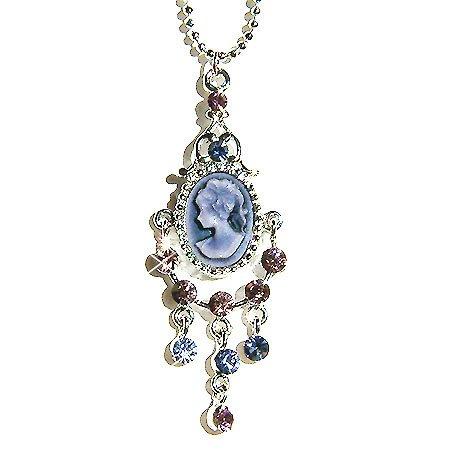 Victorian Cameo Swarovski Purple Crystal Pendant Necklace