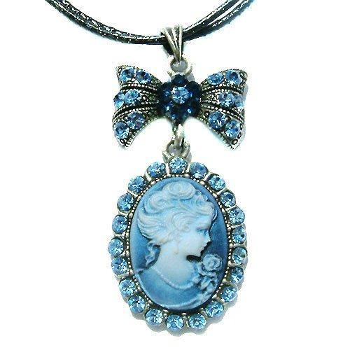 Victorian Cameo Swarovski Blue Crystal Leather Pendant Necklace
