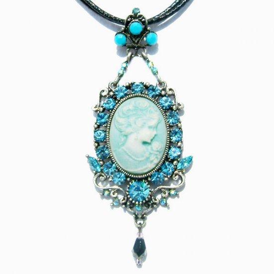 Swarovski Blue Crystal Victorian Cameo Crown Pendant Necklace
