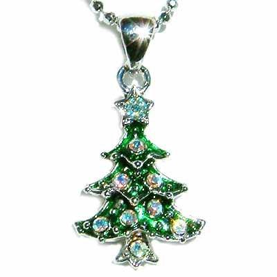 Christmas Tree Star Swarovski Crystal Traditional Gift Necklace