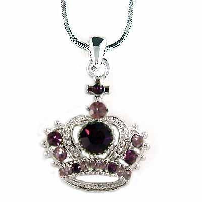 Purple Royal Crown Cross Swarovski Crystal Pendant Necklace