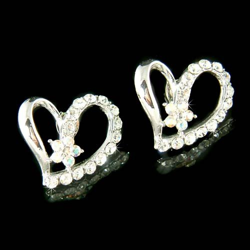 Swarovski Crystal Classy Cutout Heart with Flower Bridal Earring