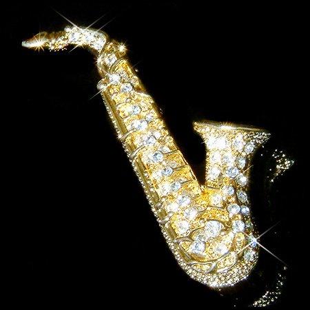 Swarovski Crystal Gold Tenor Saxophone Music Instrument  Brooch