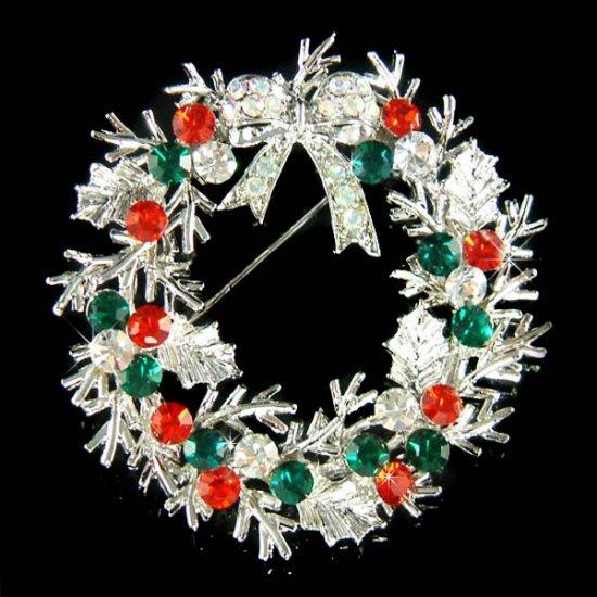Big Christmas Holly Flower Wreath Bow Swarovski Crystal Brooch
