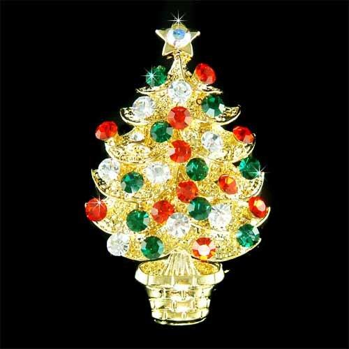 Gold Swarovski Crystal Christmas Tree Star Ornaments Brooch
