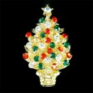 Gold Swarovski Crystal Christmas Tree Star Ornaments Brooch