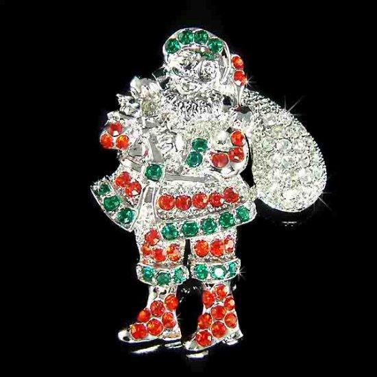 Santa Clause Gift Bag Swarovski Crystal Christmas Holiday Brooch