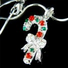 Swarovski Crystal Merry Christmas Candy Cane Holiday Necklace