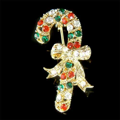 Swarovski Crystal Gold Christmas Candy Cane Stick Bow Brooch