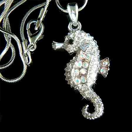 Beach Wedding Swarovski Crystal Seahorse Pendant Necklace