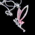 Pink Tinkerbell Fairy Tinker Pixie Swarovski Crystal Necklace
