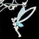 Blue Tinkerbell Fairy Tinker Pixie Swarovski Crystal Necklace