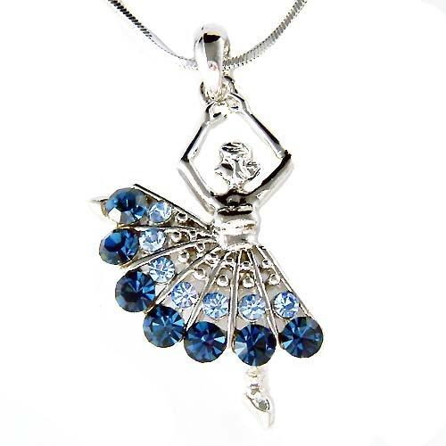 Ballerina /Ballet Dancer Blue Swarovski Crystal Pendant Necklace