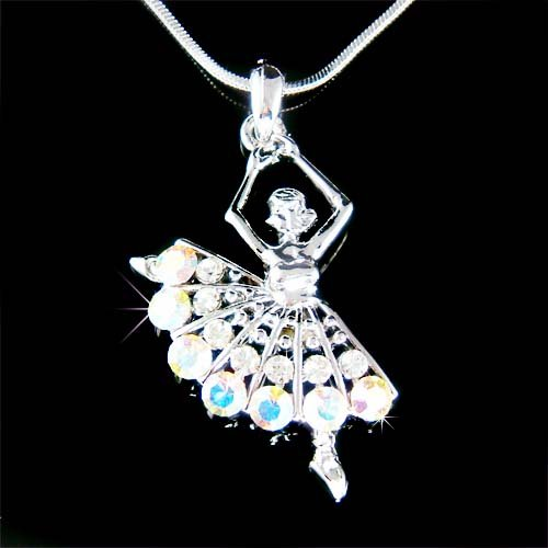Ballerina / Ballet Dancer Ballroom Swarovski Crystal Necklace