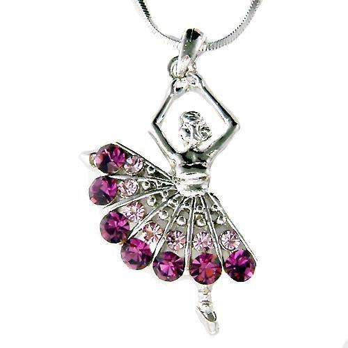 Ballerina /Ballet Dancer Purple Swarovski Crystal Charm Necklace