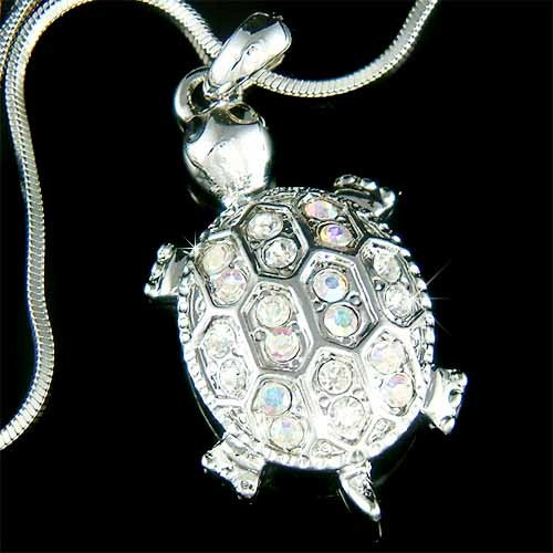 Sea Turtle Wildlife Lover Swarovski Crystal Necklace