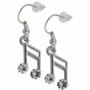 Swarovski Clear Crystal 16th Music Note Musical Pendant Earrings