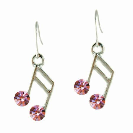 Swarovski Pink Crystal 16th Music Note Musical Pendant Earrings