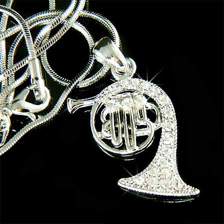 French Horn Swarovski Clear Crystal Musical Instrument Necklace