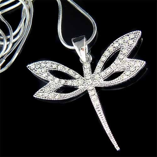 Dragonfly Swarovski Crystal Bridal Wedding Pendant Necklace