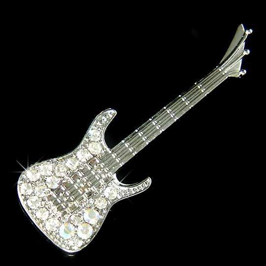 Electric Guitar Swarovski Crystal Brooch for Rock Music Fans