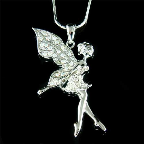 Clear Tinkerbell Fairy Pixie Swarovski Crystal Pendant Necklace