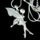 Aqua Tinkerbell Fairy Pixie Swarovski Crystal Pendant Necklace