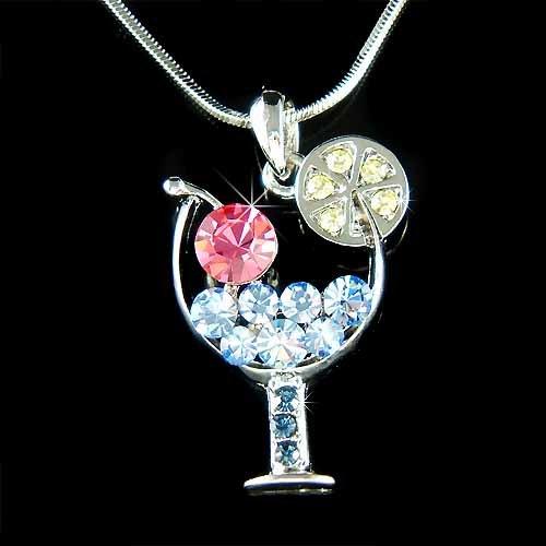 Margarita Wine Glass Cherry Swarovski Blue Crystal Necklace