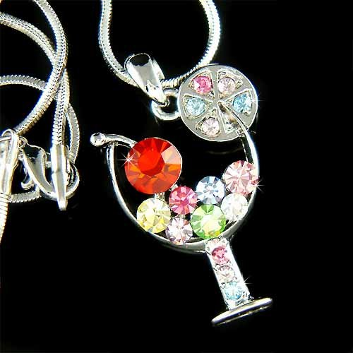 Margarita Wine Glass Cherry Swarovski Rainbow Crystal Necklace