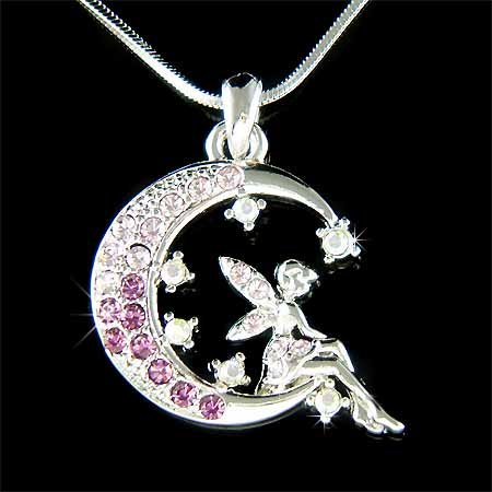 Purple Tinkerbell Fairy Moon Star Swarovski Crystal Necklace
