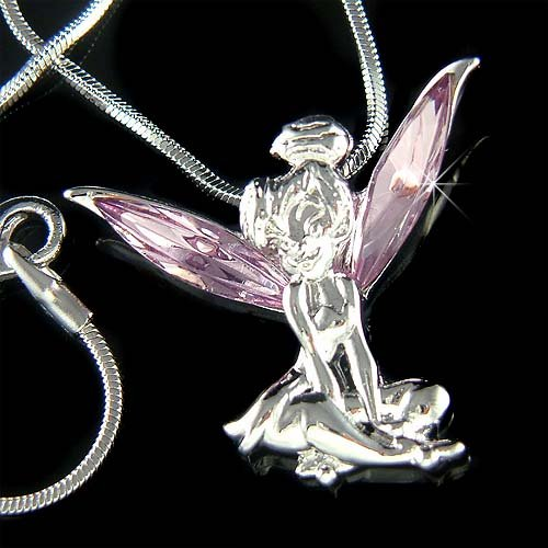 Tinkerbell Fairy Pixie Swarovski Purple Crystal Pendant Necklace