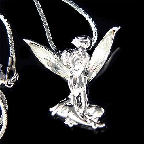 Tinkerbell Fairy Pixie  Swarovski Crystal Pendant Necklace