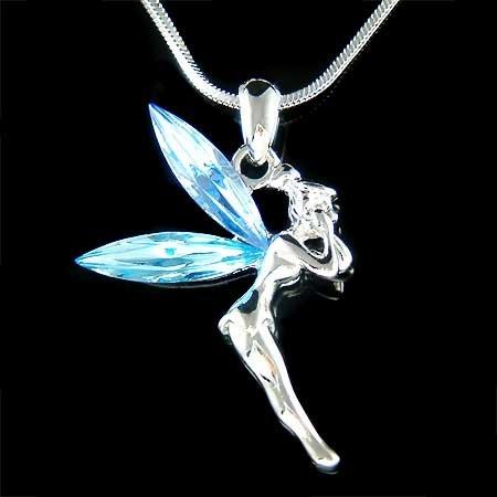 Tinkerbell Fairy Angel Swarovski Aqua Crystal Pendant Necklace