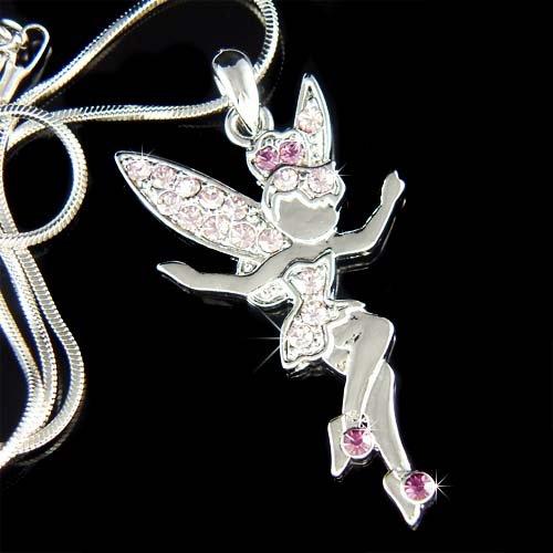 Tinkerbell Fairy Angel Swarovski Purple Crystal Pendant Necklace